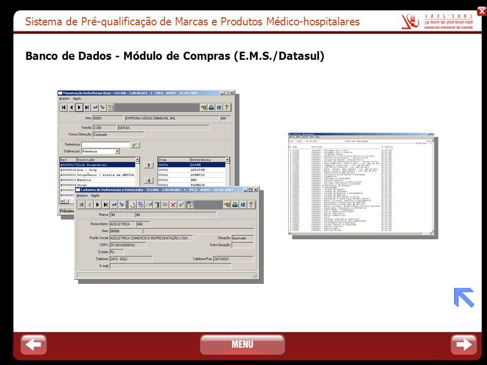 Sistema de Pré-qualificação de Marcas e Produtos Médico-hospitalares Banco de Dados - Módulo de Compras (E.M.S./Datasul)