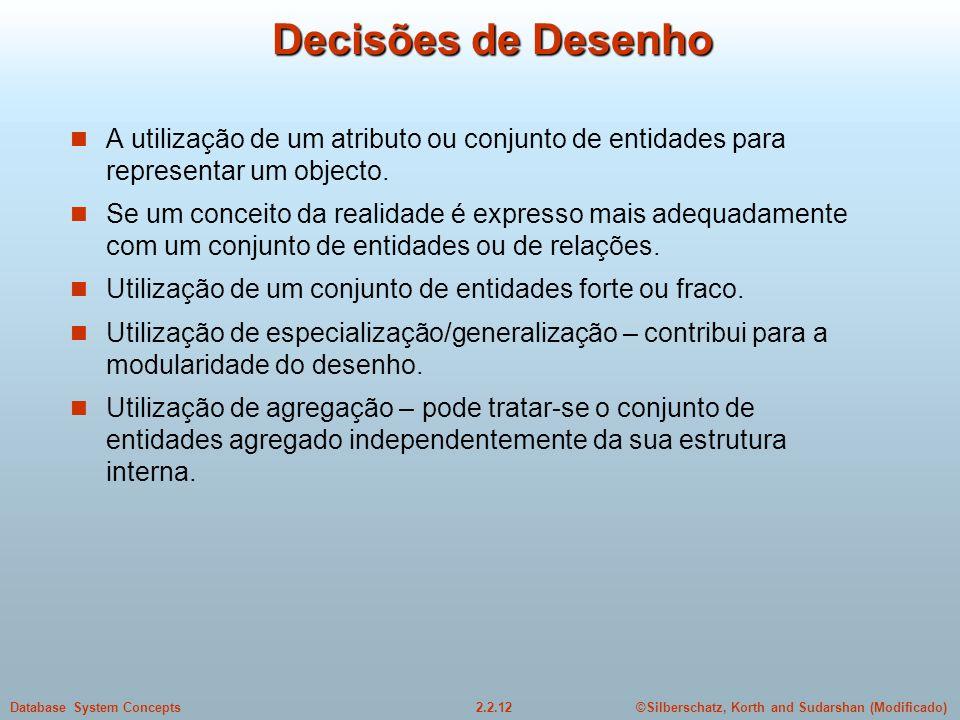 2.2.12Database System Concepts©Silberschatz, Korth and Sudarshan (Modificado) Decisões de Desenho A utilização de um atributo ou conjunto de entidades para representar um objecto.
