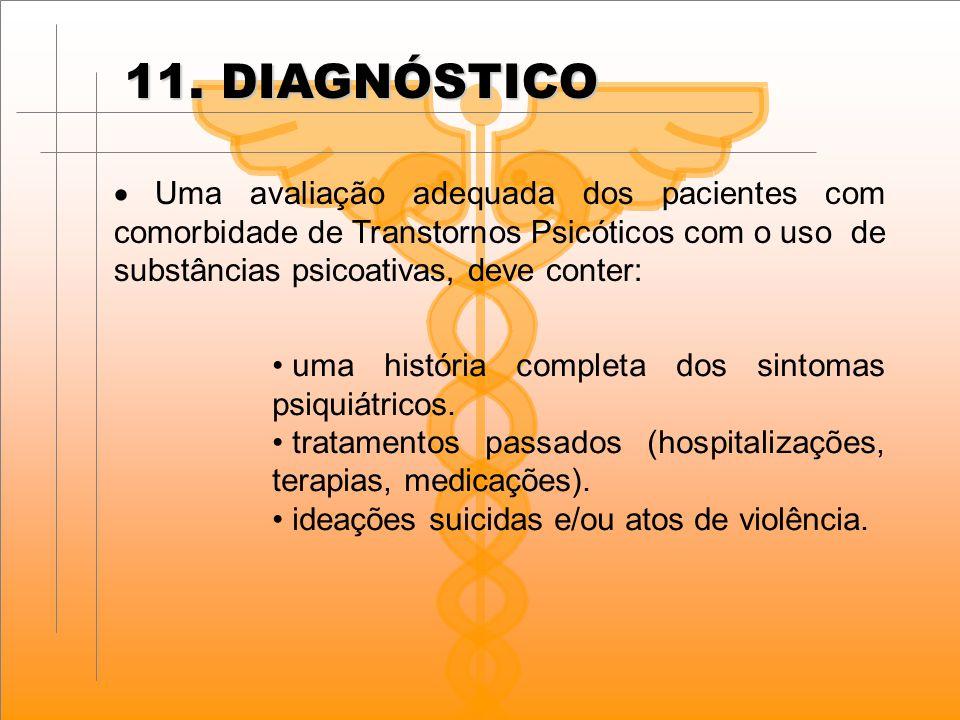11. DIAGNÓSTICO  Uma avaliação adequada dos pacientes com comorbidade de Transtornos Psicóticos com o uso de substâncias psicoativas, deve conter: u