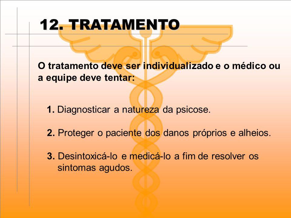 12. TRATAMENTO O tratamento deve ser individualizado e o médico ou a equipe deve tentar: 1. Diagnosticar a natureza da psicose. 2. Proteger o paciente