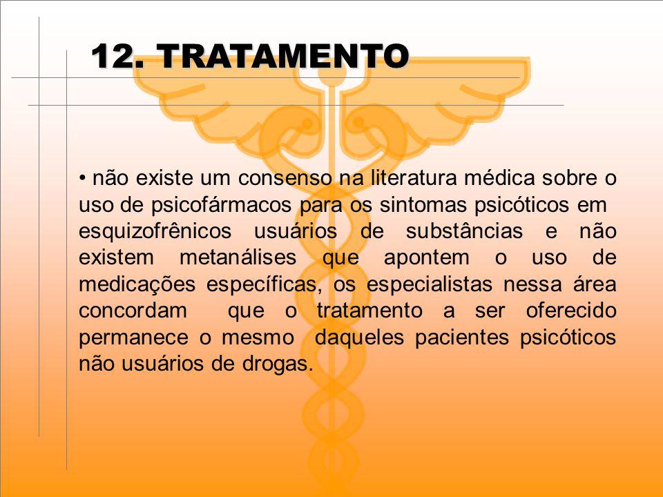 12. TRATAMENTO não existe um consenso na literatura médica sobre o uso de psicofármacos para os sintomas psicóticos em esquizofrênicos usuários de sub