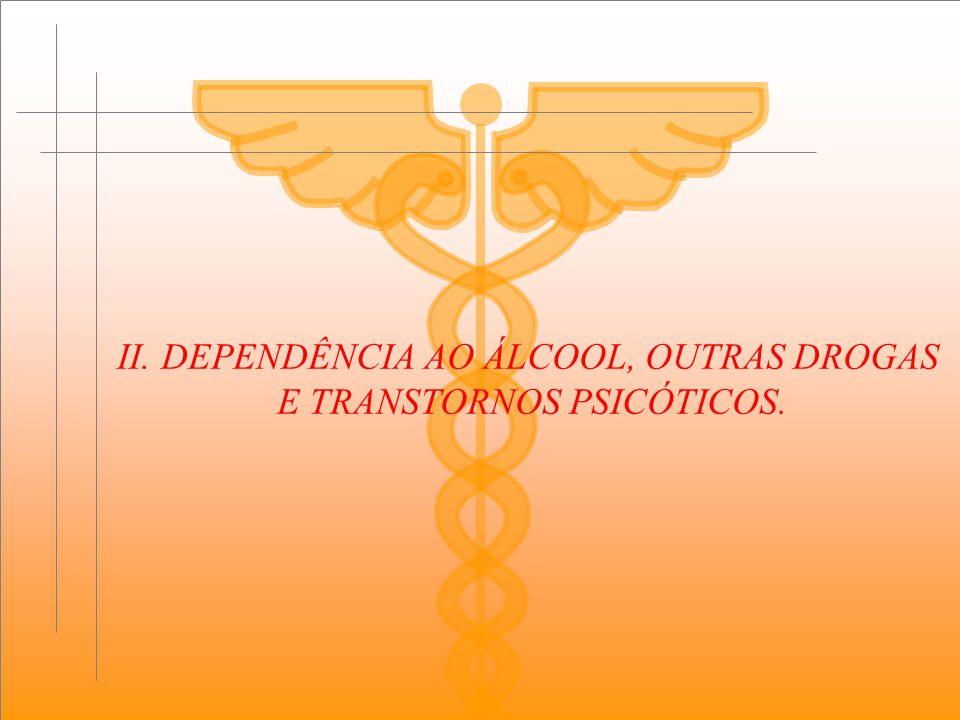 II. DEPENDÊNCIA AO ÁLCOOL, OUTRAS DROGAS E TRANSTORNOS PSICÓTICOS.