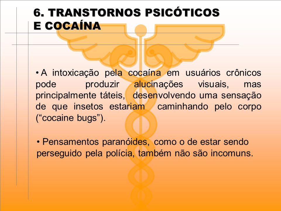 A intoxicação pela cocaína em usuários crônicos pode produzir alucinações visuais, mas principalmente táteis, desenvolvendo uma sensação de que insetos estariam caminhando pelo corpo ( cocaine bugs ).