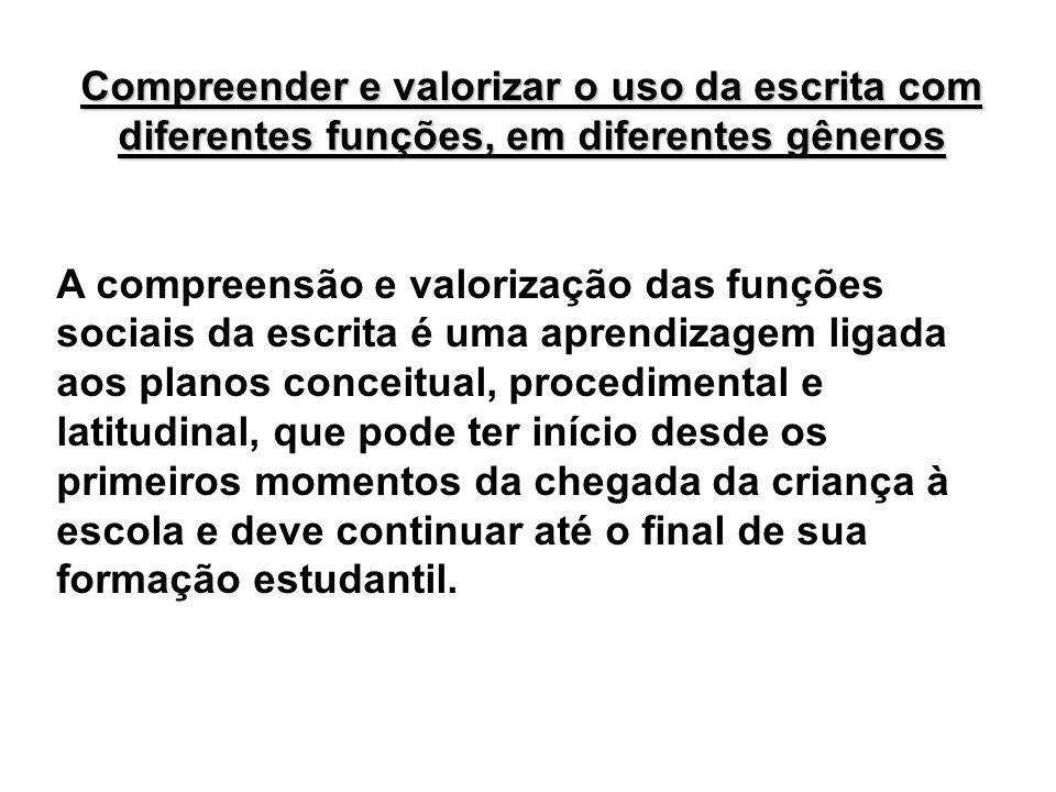 Compreender e valorizar o uso da escrita com diferentes funções, em diferentes gêneros A compreensão e valorização das funções sociais da escrita é um