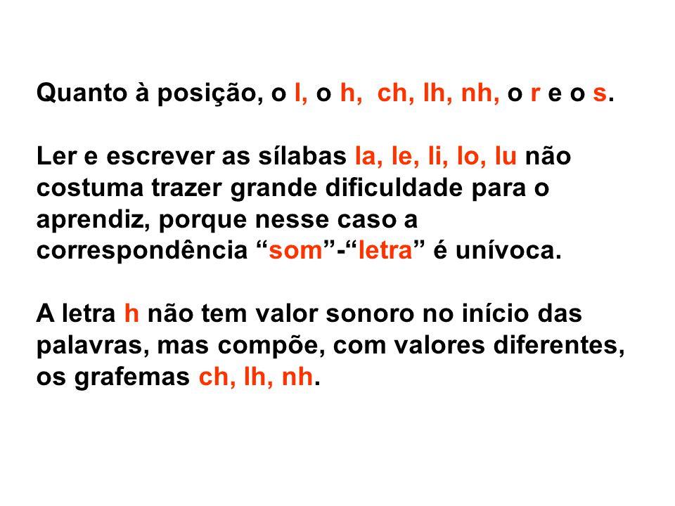 Quanto à posição, o l, o h, ch, lh, nh, o r e o s. Ler e escrever as sílabas la, le, li, lo, lu não costuma trazer grande dificuldade para o aprendiz,