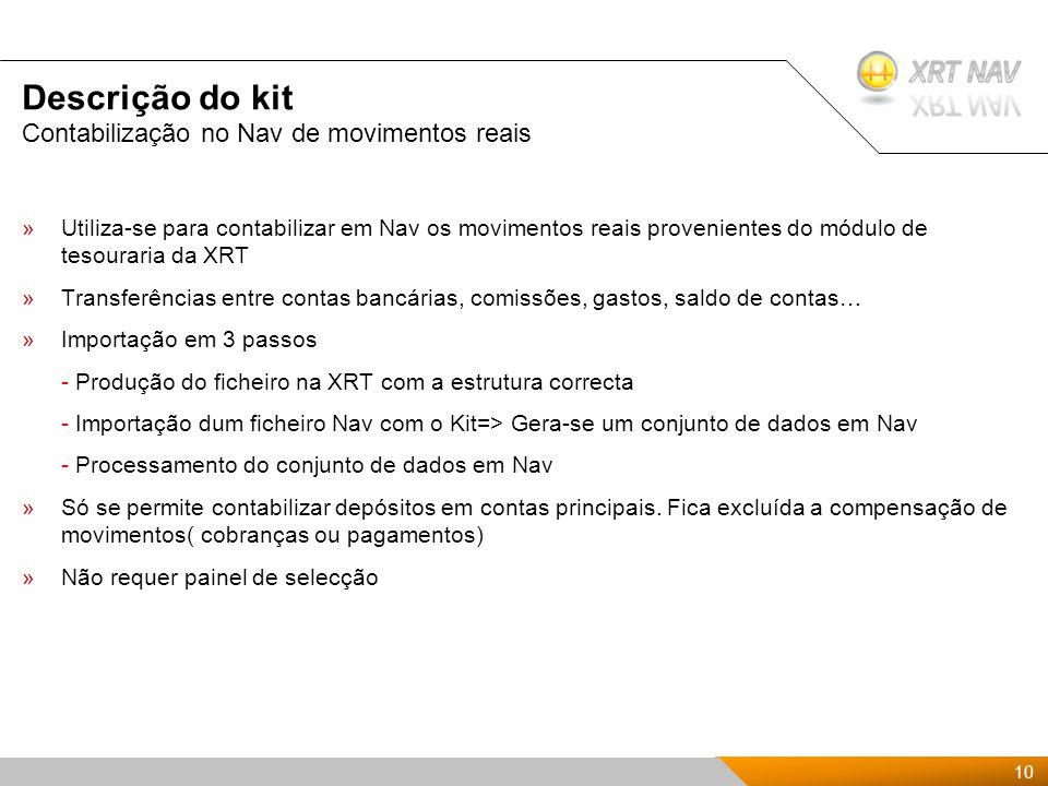 10 Presentación Kit de XRTnav 2009 Descrição do kit »Utiliza-se para contabilizar em Nav os movimentos reais provenientes do módulo de tesouraria da XRT »Transferências entre contas bancárias, comissões, gastos, saldo de contas… »Importação em 3 passos - Produção do ficheiro na XRT com a estrutura correcta - Importação dum ficheiro Nav com o Kit=> Gera-se um conjunto de dados em Nav - Processamento do conjunto de dados em Nav »Só se permite contabilizar depósitos em contas principais.
