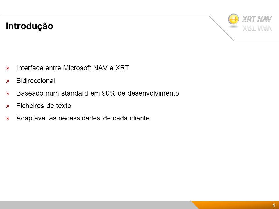 4 4 Presentación Kit de XRTnav 2009 Introdução »Interface entre Microsoft NAV e XRT »Bidireccional »Baseado num standard em 90% de desenvolvimento »Ficheiros de texto »Adaptável às necessidades de cada cliente