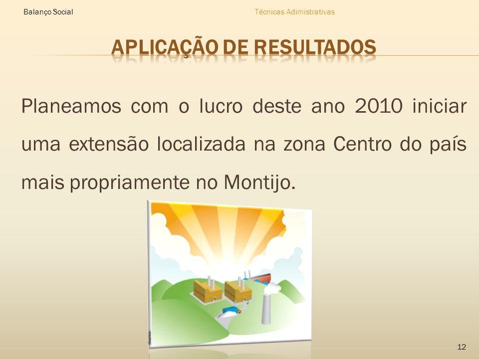 Planeamos com o lucro deste ano 2010 iniciar uma extensão localizada na zona Centro do país mais propriamente no Montijo.