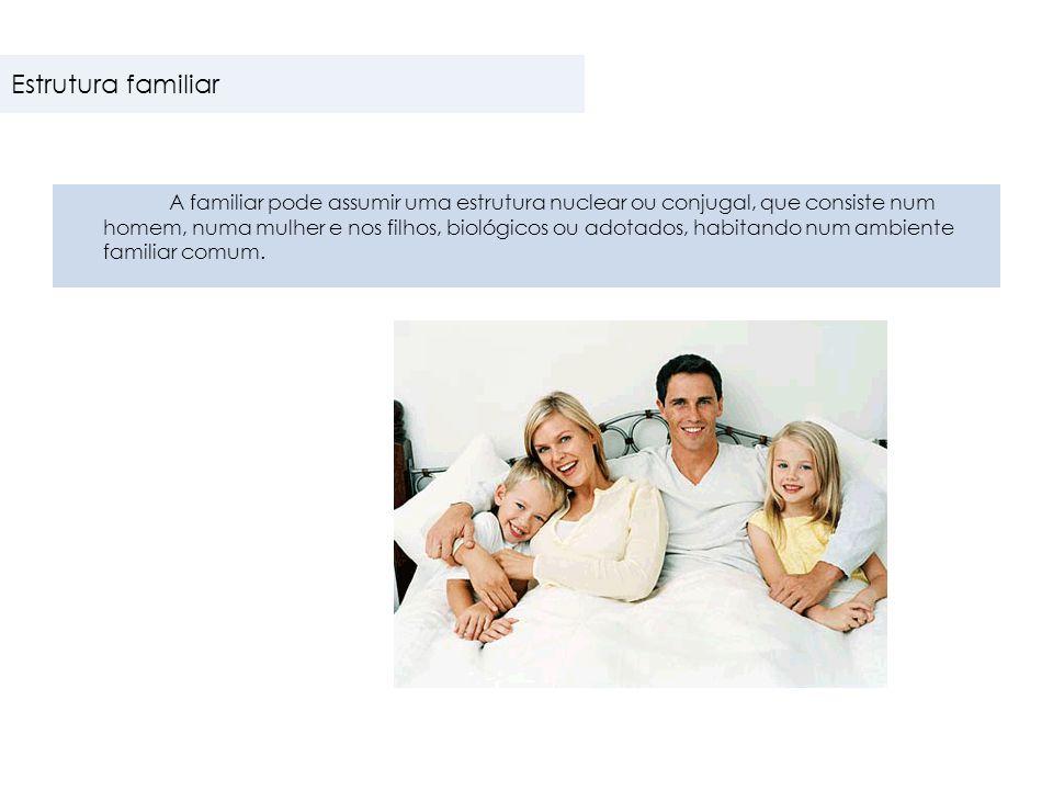 A familiar pode assumir uma estrutura nuclear ou conjugal, que consiste num homem, numa mulher e nos filhos, biológicos ou adotados, habitando num amb