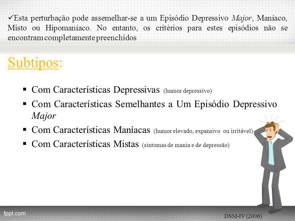 Esta perturbação pode assemelhar-se a um Episódio Depressivo Major, Maníaco, Misto ou Hipomaníaco.