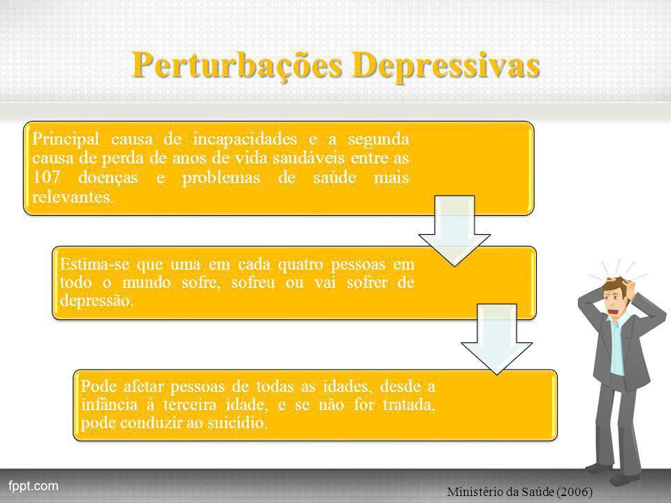 Perturbações Depressivas Principal causa de incapacidades e a segunda causa de perda de anos de vida saudáveis entre as 107 doenças e problemas de saúde mais relevantes.