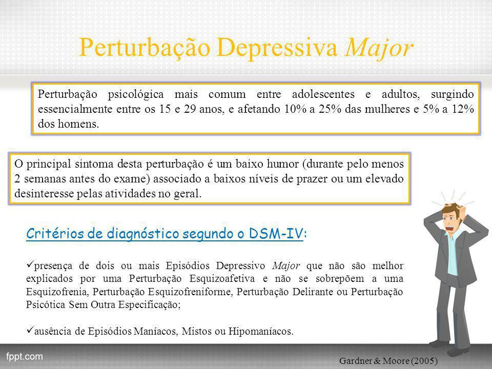 Perturbação Depressiva Major Gardner & Moore (2005) Perturbação psicológica mais comum entre adolescentes e adultos, surgindo essencialmente entre os 15 e 29 anos, e afetando 10% a 25% das mulheres e 5% a 12% dos homens.