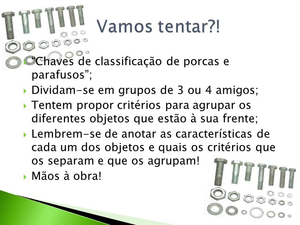 """ """"Chaves de classificação de porcas e parafusos"""";  Dividam-se em grupos de 3 ou 4 amigos;  Tentem propor critérios para agrupar os diferentes objet"""