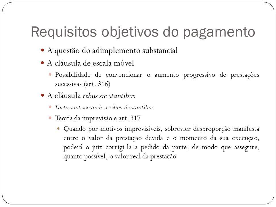 Requisitos objetivos do pagamento A questão do adimplemento substancial A cláusula de escala móvel Possibilidade de convencionar o aumento progressivo