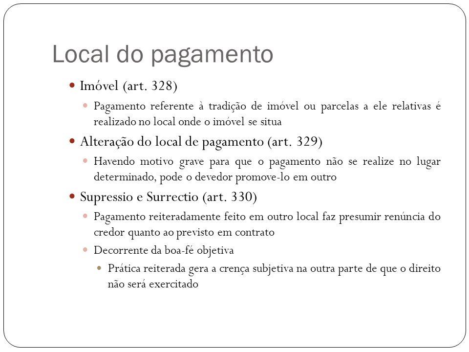 Local do pagamento Imóvel (art. 328) Pagamento referente à tradição de imóvel ou parcelas a ele relativas é realizado no local onde o imóvel se situa