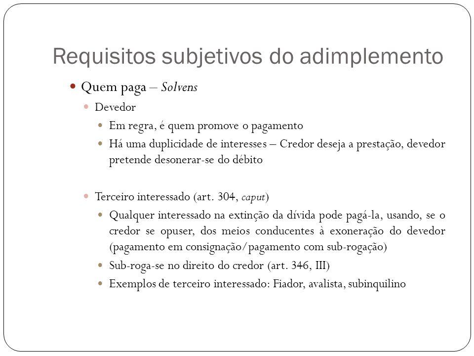 Requisitos subjetivos do adimplemento Quem paga – Solvens Devedor Em regra, é quem promove o pagamento Há uma duplicidade de interesses – Credor desej