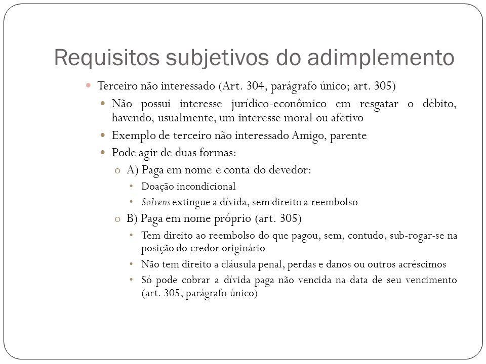 Requisitos subjetivos do adimplemento Terceiro não interessado (Art. 304, parágrafo único; art. 305) Não possui interesse jurídico-econômico em resgat