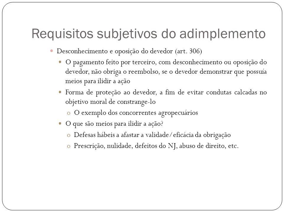 Requisitos subjetivos do adimplemento Desconhecimento e oposição do devedor (art. 306) O pagamento feito por terceiro, com desconhecimento ou oposição