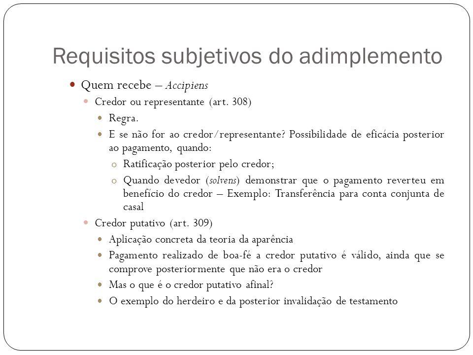 Requisitos subjetivos do adimplemento Quem recebe – Accipiens Credor ou representante (art. 308) Regra. E se não for ao credor/representante? Possibil