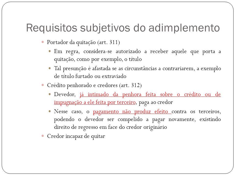 Requisitos subjetivos do adimplemento Portador da quitação (art. 311) Em regra, considera-se autorizado a receber aquele que porta a quitação, como po