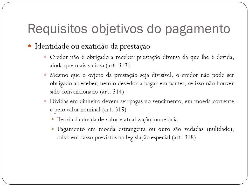 Requisitos objetivos do pagamento A questão do adimplemento substancial A cláusula de escala móvel Possibilidade de convencionar o aumento progressivo de prestações sucessivas (art.