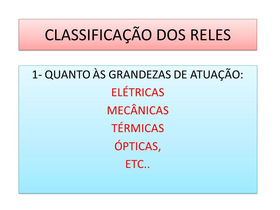 CLASSIFICAÇÃO DOS RELES 1- QUANTO ÀS GRANDEZAS DE ATUAÇÃO: ELÉTRICAS MECÂNICAS TÉRMICAS ÓPTICAS, ETC.. 1- QUANTO ÀS GRANDEZAS DE ATUAÇÃO: ELÉTRICAS ME