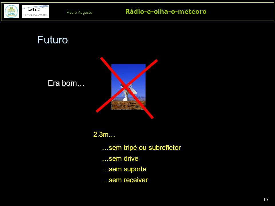 17 Rádio-e-olha-o-meteoro UNIVERSIDADE DA MADEIRA Pedro Augusto Era bom… 2.3m… …sem tripé ou subrefletor …sem drive …sem suporte …sem receiver Futuro
