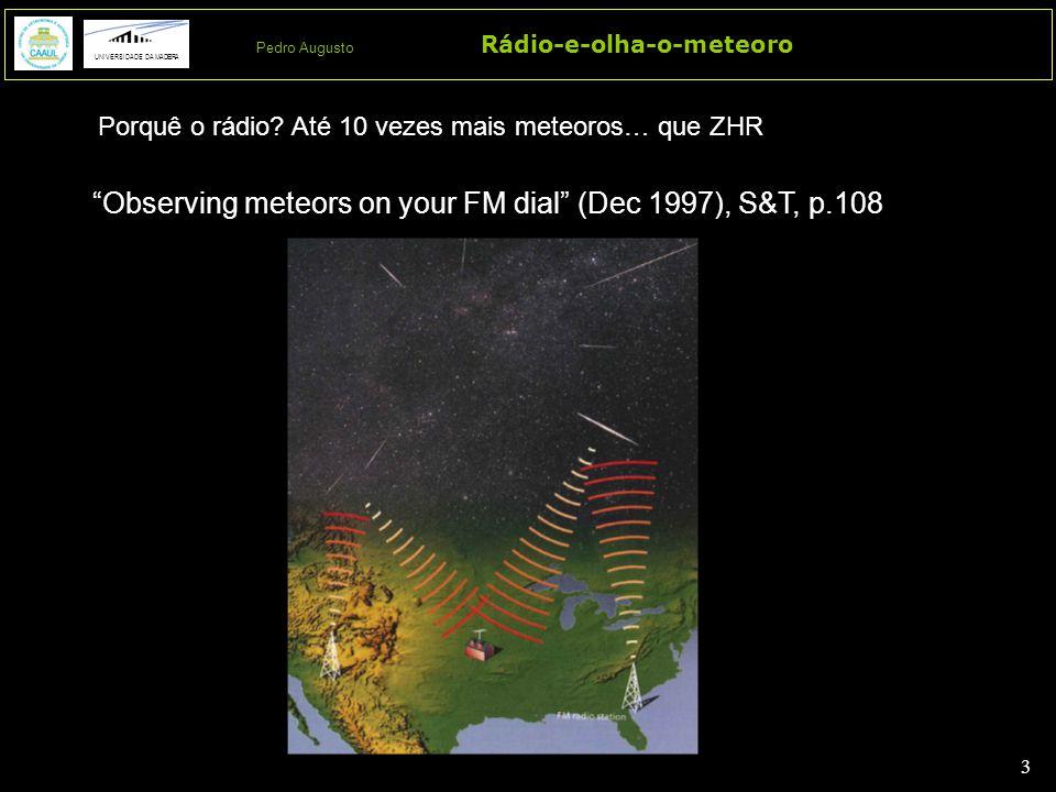4 4 Rádio-e-olha-o-meteoro UNIVERSIDADE DA MADEIRA Pedro Augusto UME - Underdense meteor event (<2 seg) http://www.amsmeteors.org/audio/index.html American Meteor Society OvME - Overdense meteor event (muitos segs a minutos; mag <5) OsME - Oscillating meteor event (muitos segs) TE - Transition event (alguns segs) Amateur radiometer: 55.25  0.01MHz MHE – Meteor head Echo (muitos segs) http://knol.google.com/k/fm-radio-astronomy# e.g.