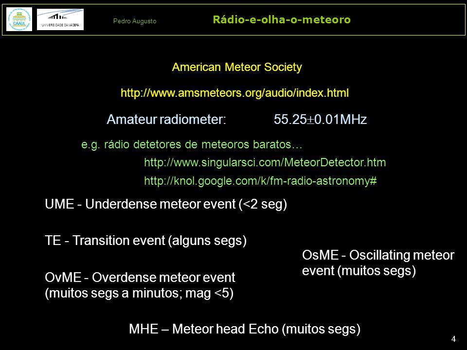 4 4 Rádio-e-olha-o-meteoro UNIVERSIDADE DA MADEIRA Pedro Augusto UME - Underdense meteor event (<2 seg) http://www.amsmeteors.org/audio/index.html Ame