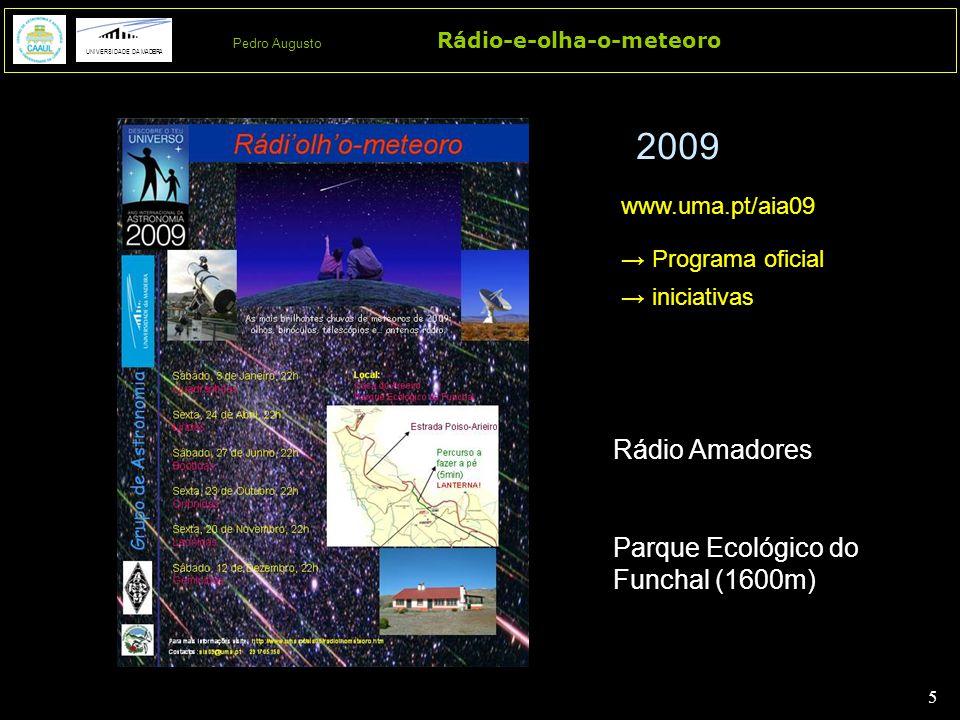 5 5 Rádio-e-olha-o-meteoro UNIVERSIDADE DA MADEIRA Pedro Augusto Rádio Amadores Parque Ecológico do Funchal (1600m) 2009 www.uma.pt/aia09 → Programa oficial → iniciativas