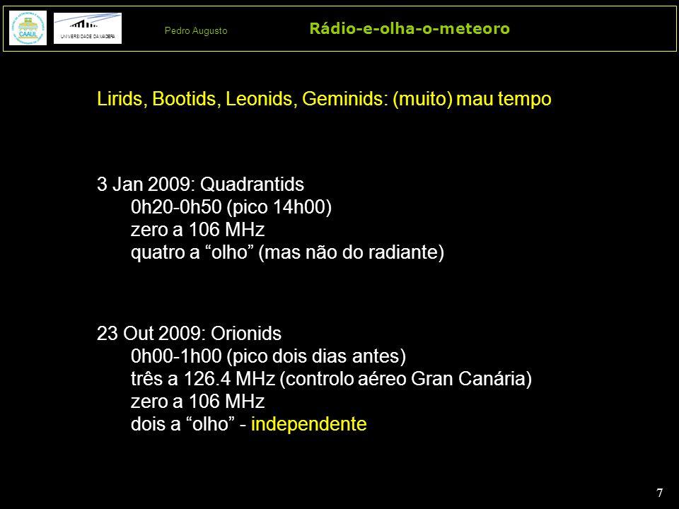 """7 7 Rádio-e-olha-o-meteoro UNIVERSIDADE DA MADEIRA Pedro Augusto 3 Jan 2009: Quadrantids 0h20-0h50 (pico 14h00) zero a 106 MHz quatro a """"olho"""" (mas nã"""