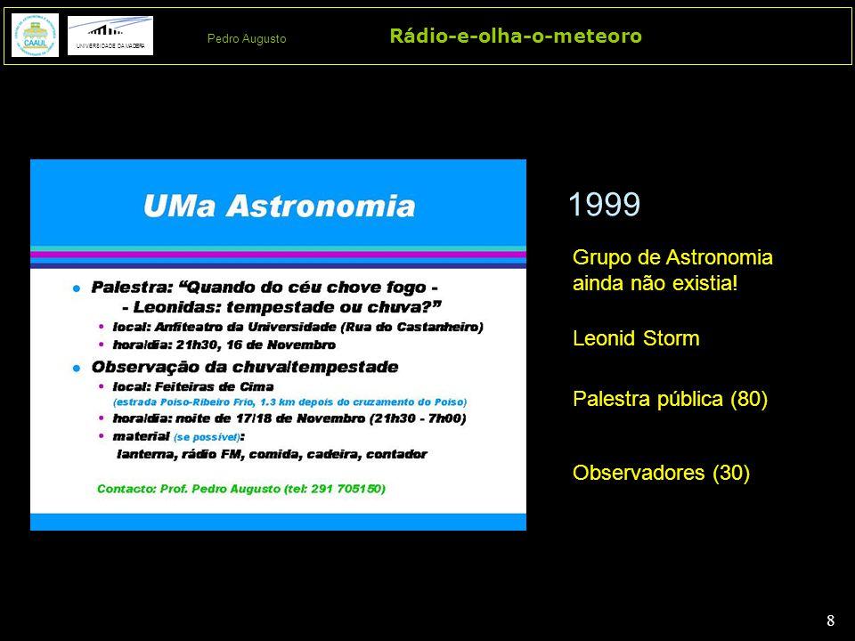 8 8 Rádio-e-olha-o-meteoro UNIVERSIDADE DA MADEIRA Pedro Augusto 1999 Grupo de Astronomia ainda não existia! Leonid Storm Palestra pública (80) Observ