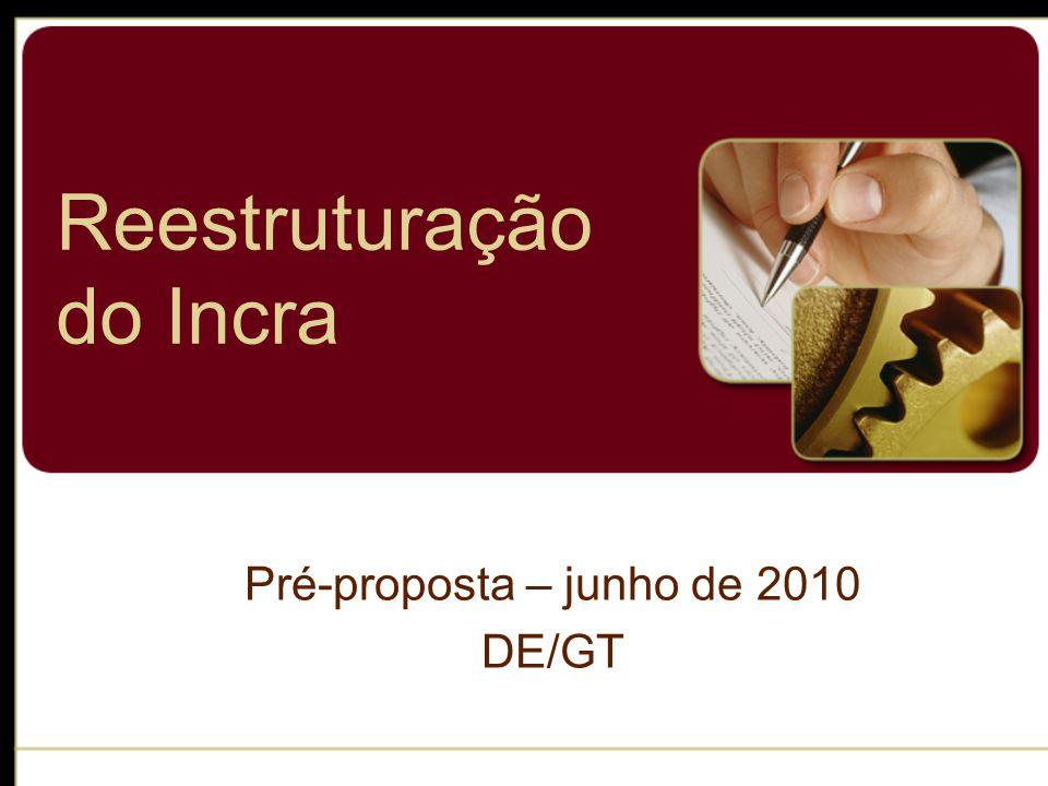 Reestruturação do Incra Pré-proposta – junho de 2010 DE/GT