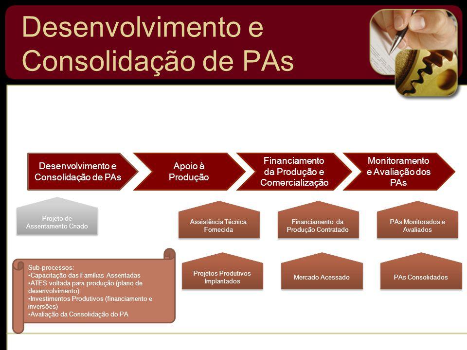 Desenvolvimento e Consolidação de PAs Sub-processos: Capacitação das Famílias Assentadas ATES voltada para produção (plano de desenvolvimento) Investimentos Produtivos (financiamento e inversões) Avaliação da Consolidação do PA Financiamento da Produção e Comercialização Monitoramento e Avaliação dos PAs Projeto de Assentamento Criado Apoio à Produção Projetos Produtivos Implantados Financiamento da Produção Contratado Assistência Técnica Fornecida PAs Monitorados e Avaliados PAs Consolidados Mercado Acessado