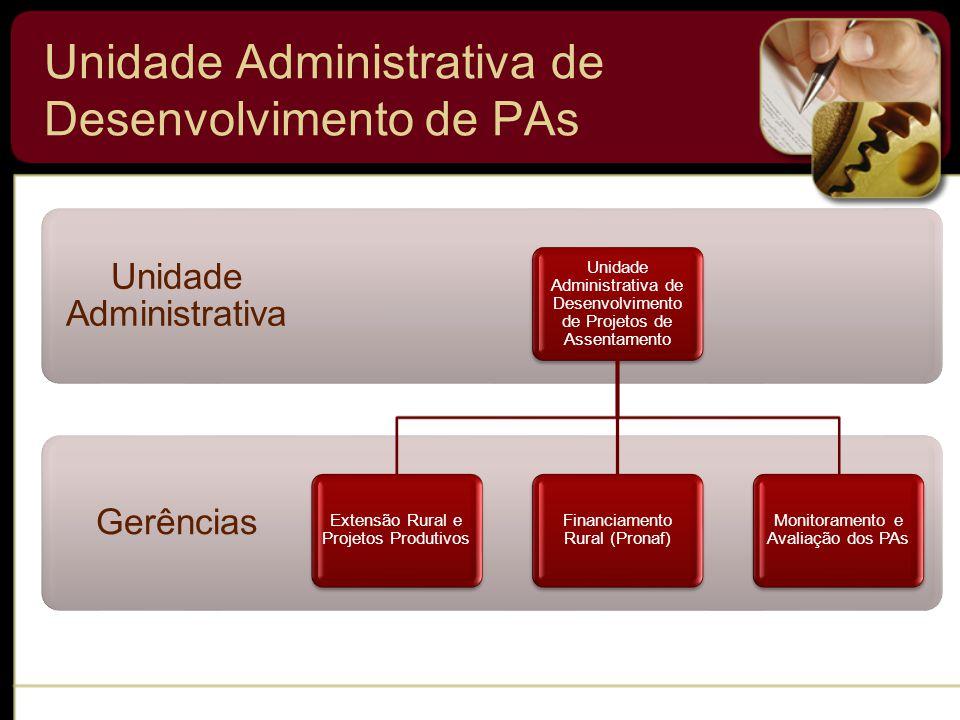 Unidade Administrativa de Desenvolvimento de PAs Gerências Unidade Administrativa Unidade Administrativa de Desenvolvimento de Projetos de Assentamento Extensão Rural e Projetos Produtivos Financiamento Rural (Pronaf) Monitoramento e Avaliação dos PAs