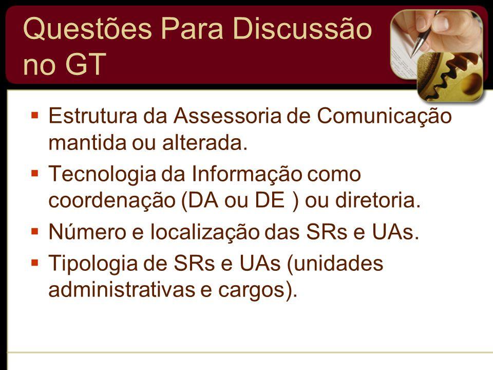 Questões Para Discussão no GT  Estrutura da Assessoria de Comunicação mantida ou alterada.