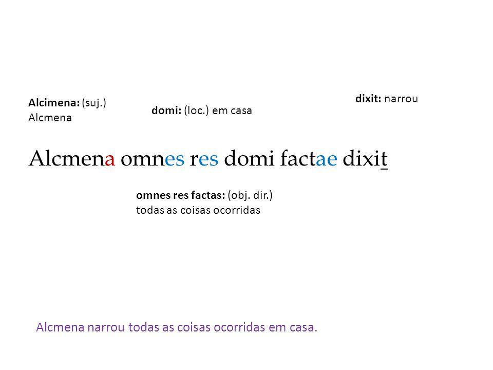 Alcmena omnes res domi factae dixit Alcmena narrou todas as coisas ocorridas em casa. dixit: narrou Alcimena: (suj.) Alcmena omnes res factas: (obj. d