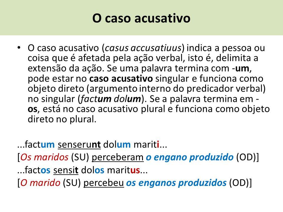 O caso acusativo O caso acusativo (casus accusatiuus) indica a pessoa ou coisa que é afetada pela ação verbal, isto é, delimita a extensão da ação. Se