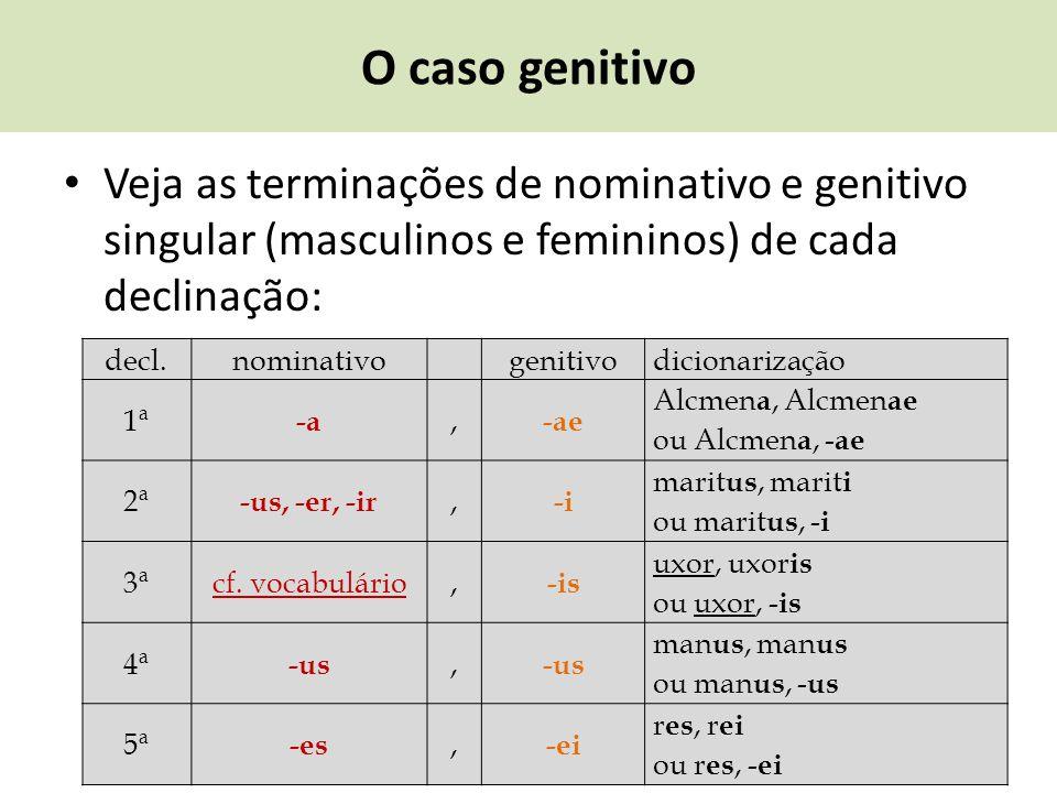 O caso genitivo Veja as terminações de nominativo e genitivo singular (masculinos e femininos) de cada declinação: decl.nominativogenitivodicionarizaç