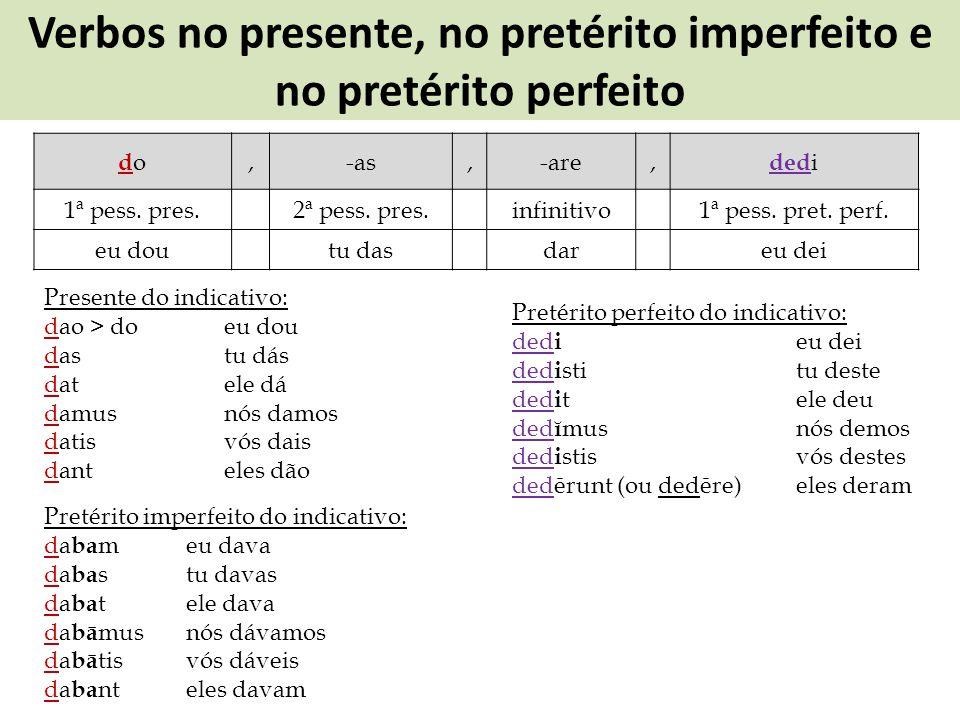 Verbos no presente, no pretérito imperfeito e no pretérito perfeito dodo,-as,-are, ded i 1ª pess. pres.2ª pess. pres.infinitivo1ª pess. pret. perf. eu