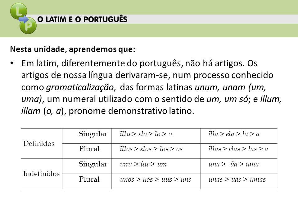 Nesta unidade, aprendemos que: Em latim, diferentemente do português, não há artigos. Os artigos de nossa língua derivaram-se, num processo conhecido