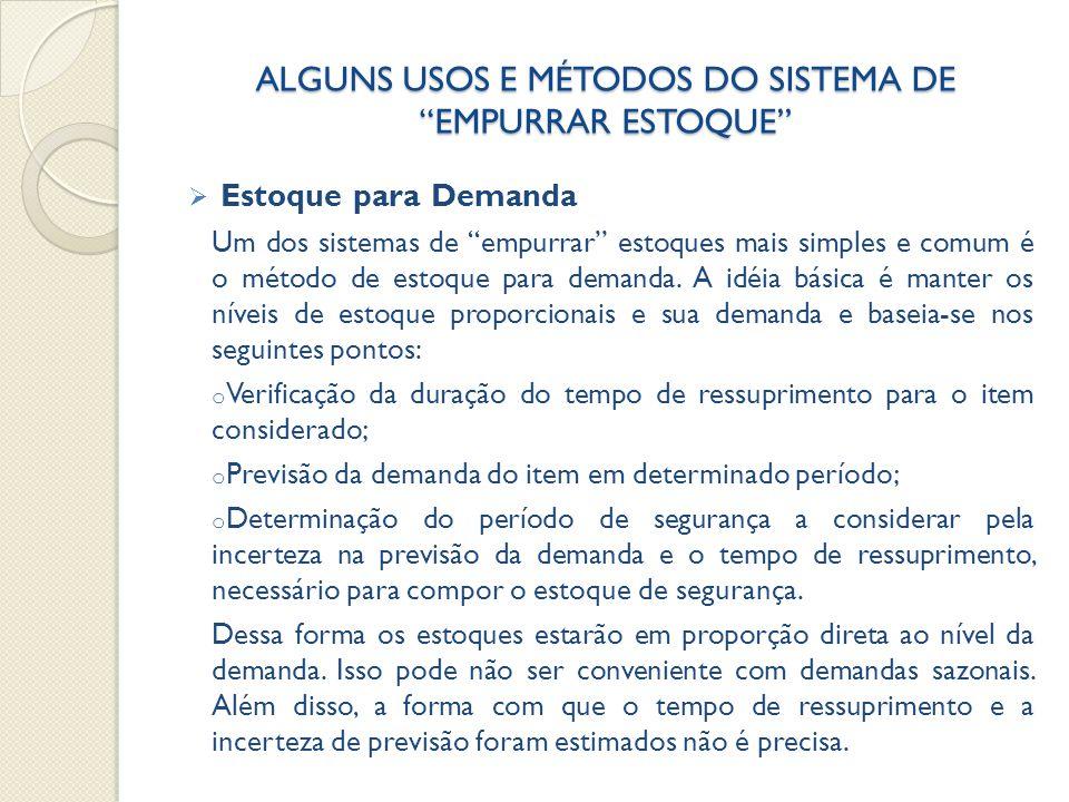 ALGUNS USOS E MÉTODOS DO SISTEMA DE EMPURRAR ESTOQUE  Estoque para Demanda Um dos sistemas de empurrar estoques mais simples e comum é o método de estoque para demanda.