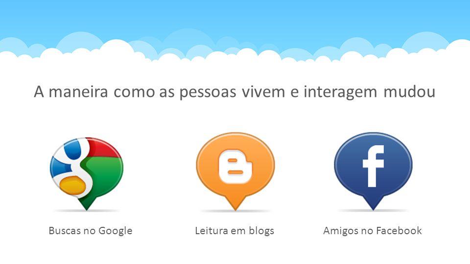 Leitura em blogsBuscas no GoogleAmigos no Facebook A maneira como as pessoas vivem e interagem mudou