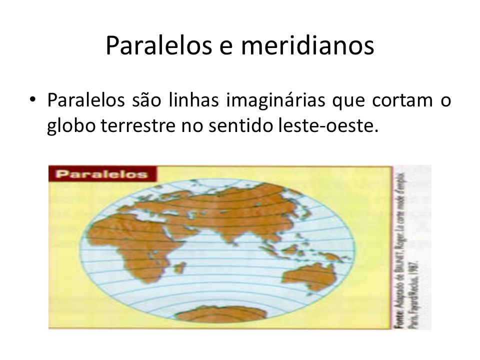 Paralelos e meridianos Paralelos são linhas imaginárias que cortam o globo terrestre no sentido leste-oeste.