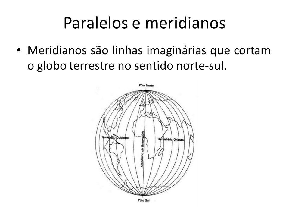 Paralelos e meridianos Meridianos são linhas imaginárias que cortam o globo terrestre no sentido norte-sul.
