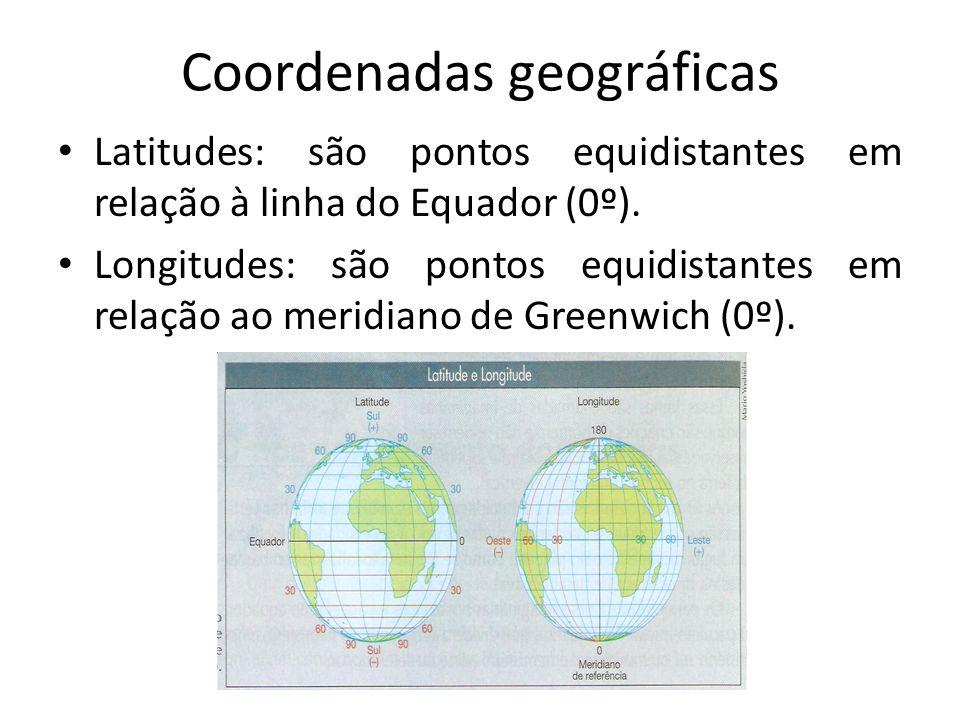 Coordenadas geográficas Latitudes: são pontos equidistantes em relação à linha do Equador (0º).