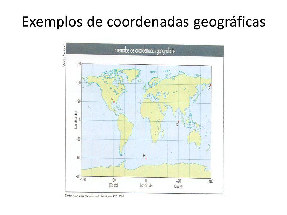 Exemplos de coordenadas geográficas