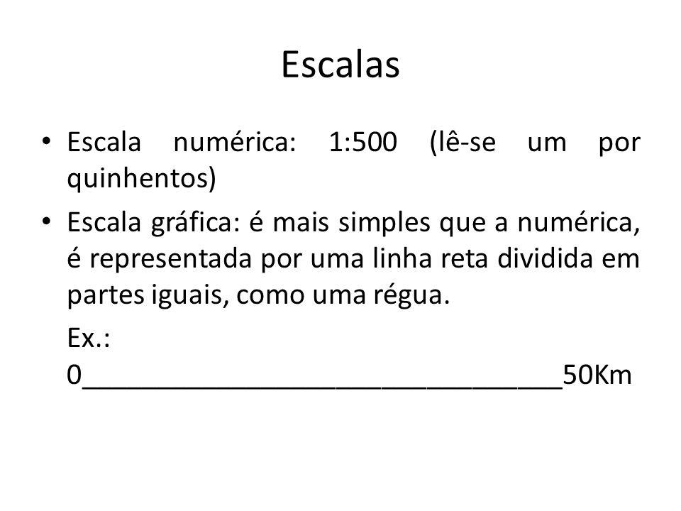 Escalas Escala numérica: 1:500 (lê-se um por quinhentos) Escala gráfica: é mais simples que a numérica, é representada por uma linha reta dividida em partes iguais, como uma régua.