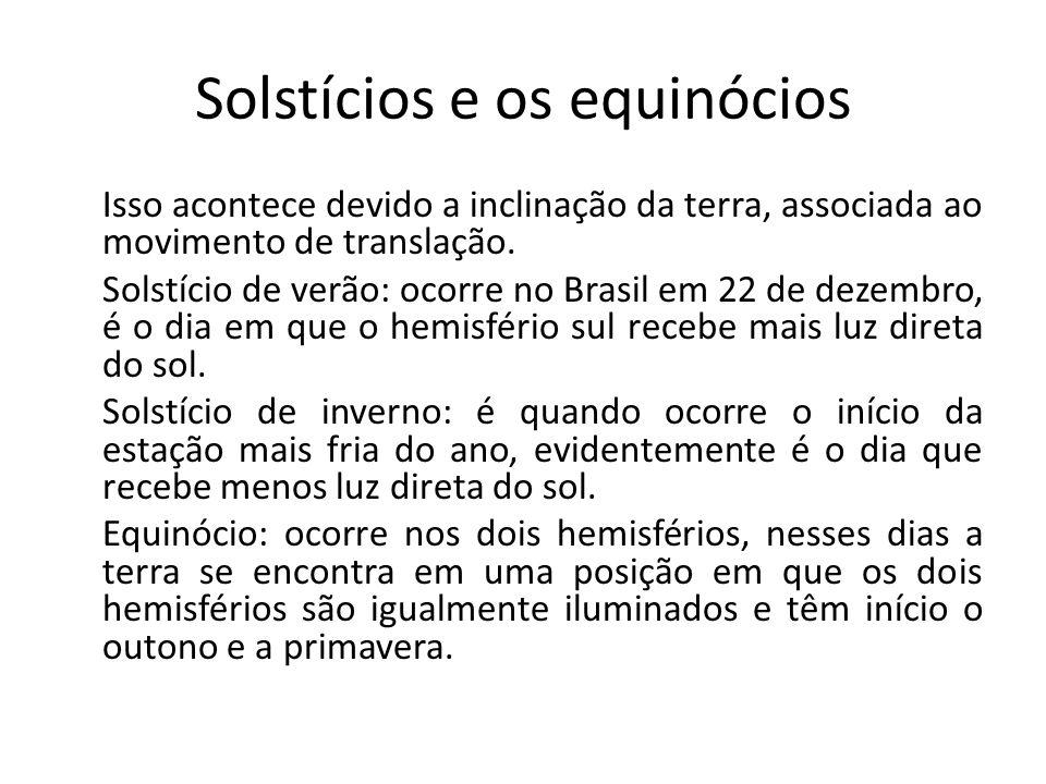 Solstícios e os equinócios Isso acontece devido a inclinação da terra, associada ao movimento de translação.