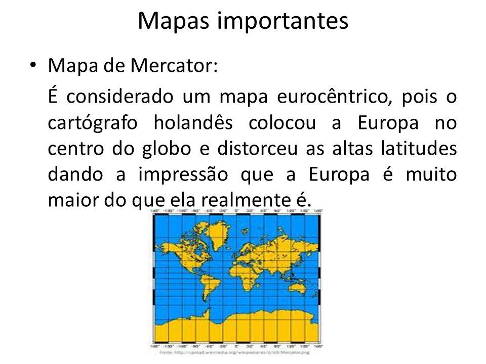 Mapas importantes Mapa de Mercator: É considerado um mapa eurocêntrico, pois o cartógrafo holandês colocou a Europa no centro do globo e distorceu as altas latitudes dando a impressão que a Europa é muito maior do que ela realmente é.